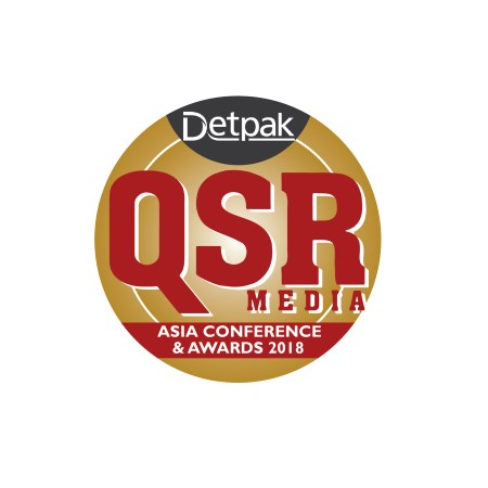 Icon for QSR Media Awards Asia, yellow icon with red text reading 'Detpak QSR Media Asia Conference and Awards 2018'