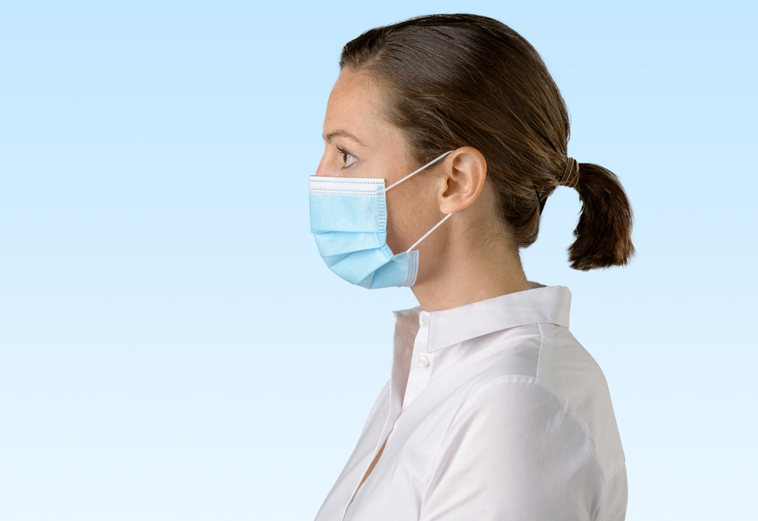 Image of someone wearing a Detmold Medical mask