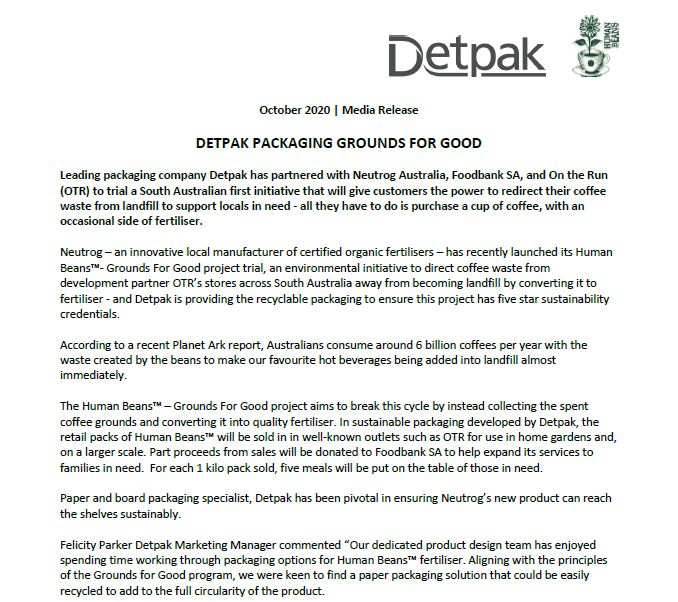 DETPAK PACKAGING GROUNDS FOR GOOD