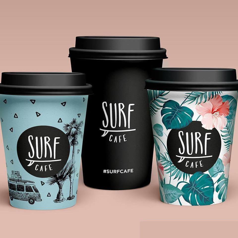 Surf Cafe Tallinn Surf themed hot cups