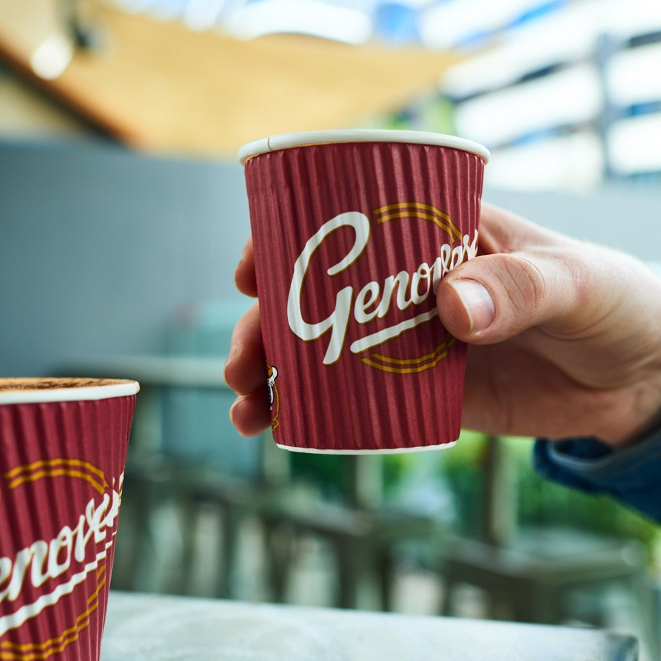 Genovese red and gold hot cup with hand