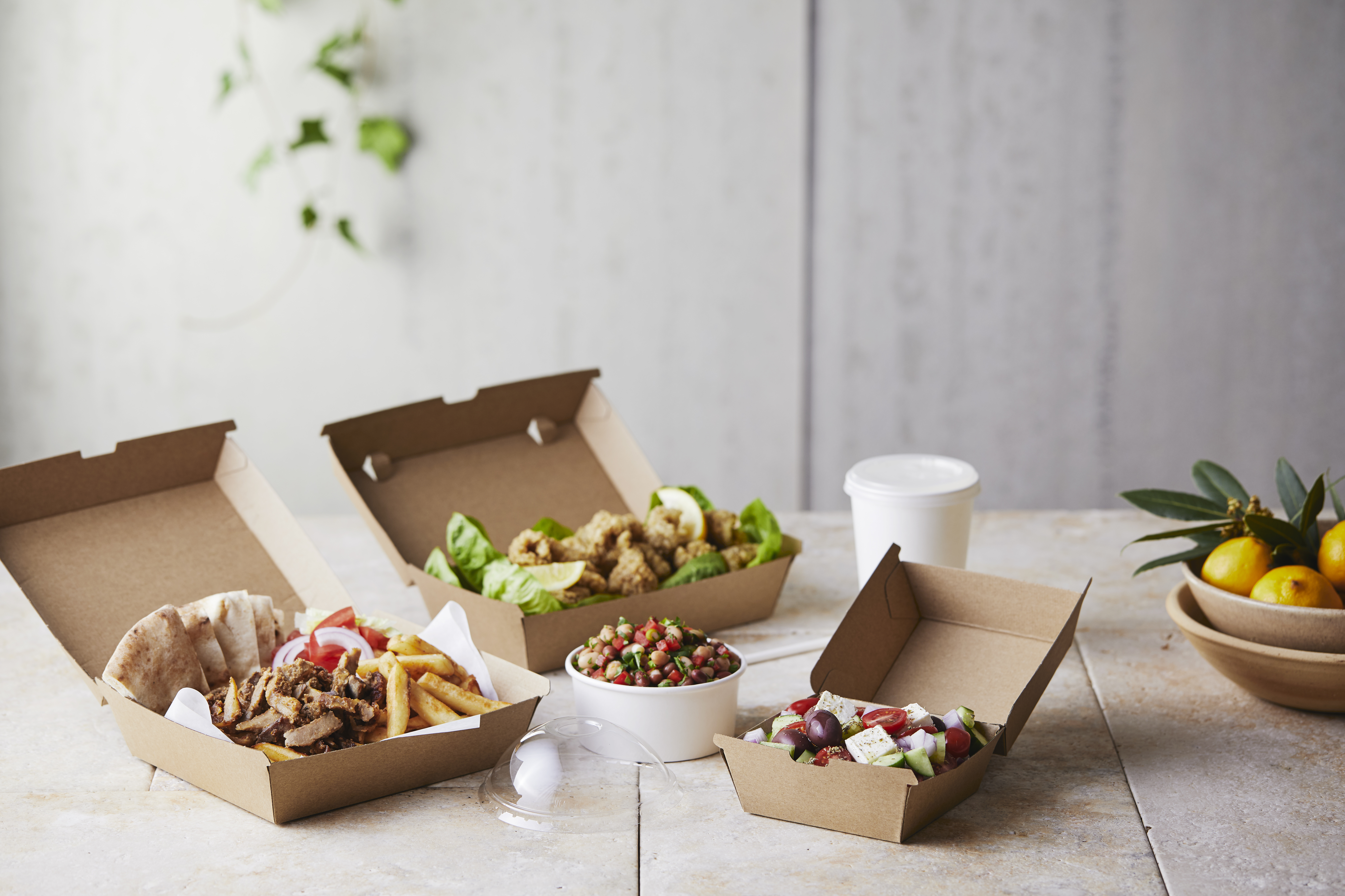 Takeaway chips, meat and salad served in kraft cartons.