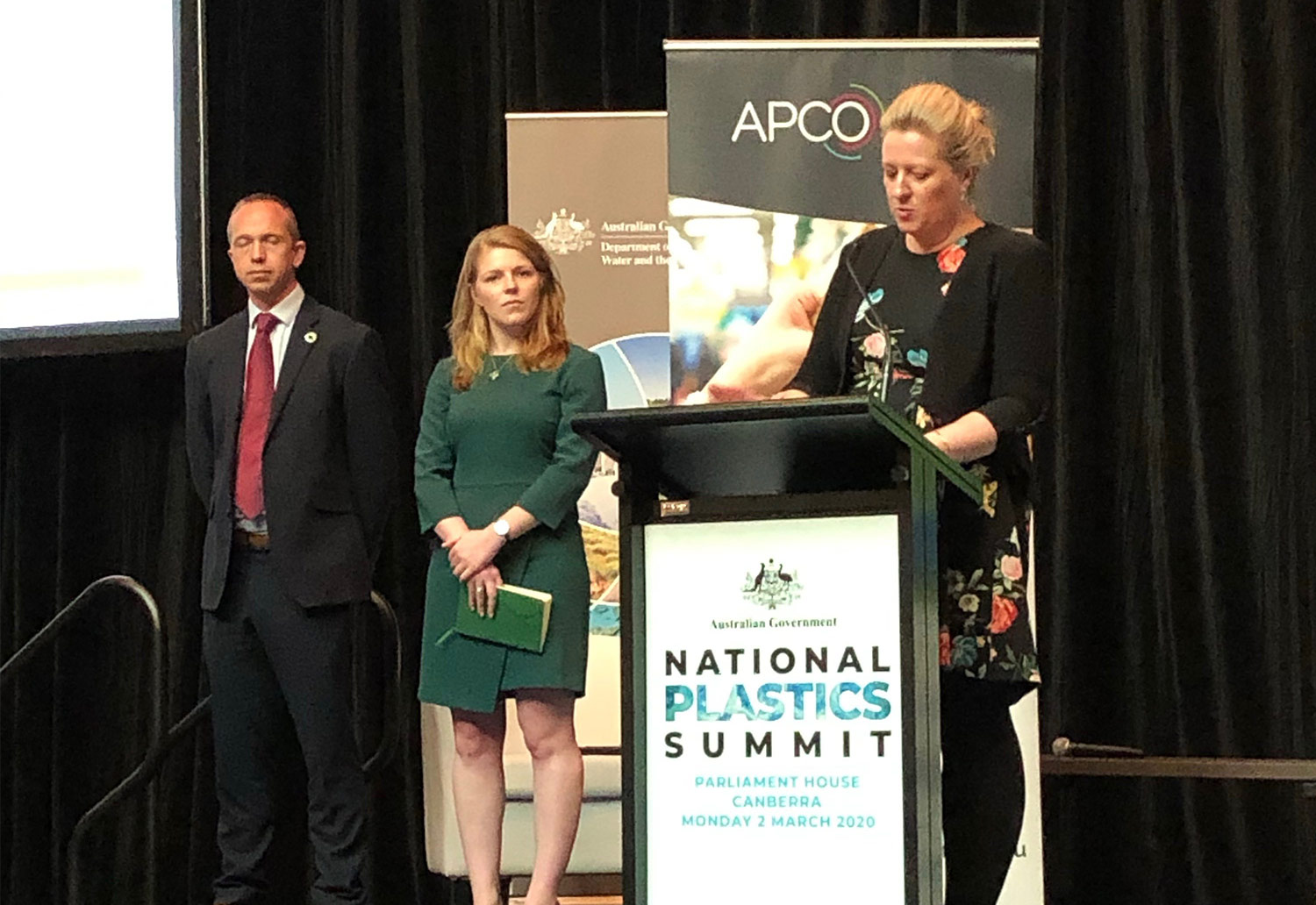 Image of Brooke Donnelly - CEO of APCO presenting at the National Plastics Summit