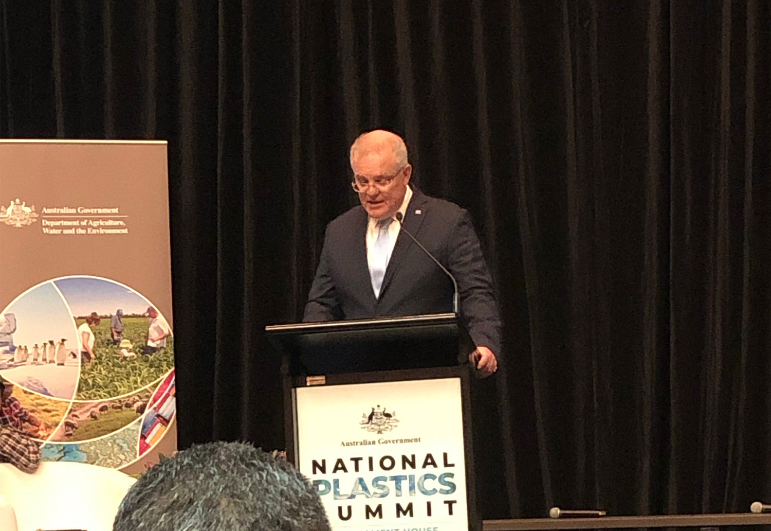 Prime Minister Scott Morrison presents at the National Plastics Summit