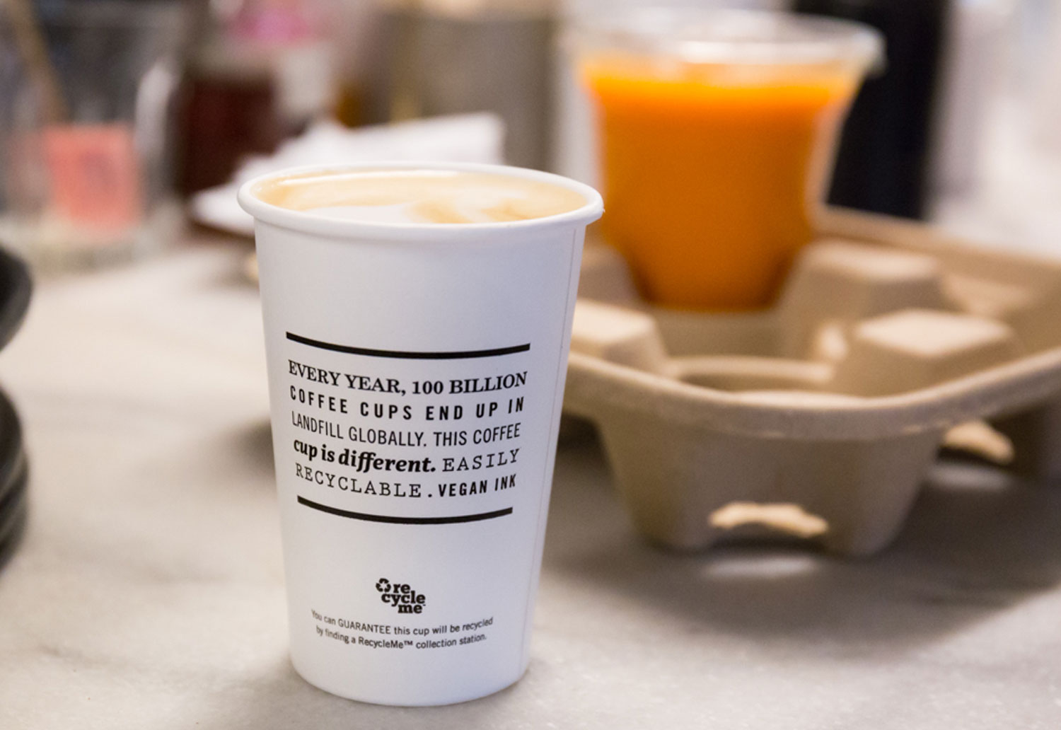 Image of a Detpak RecycleMe cup for takeaway coffee