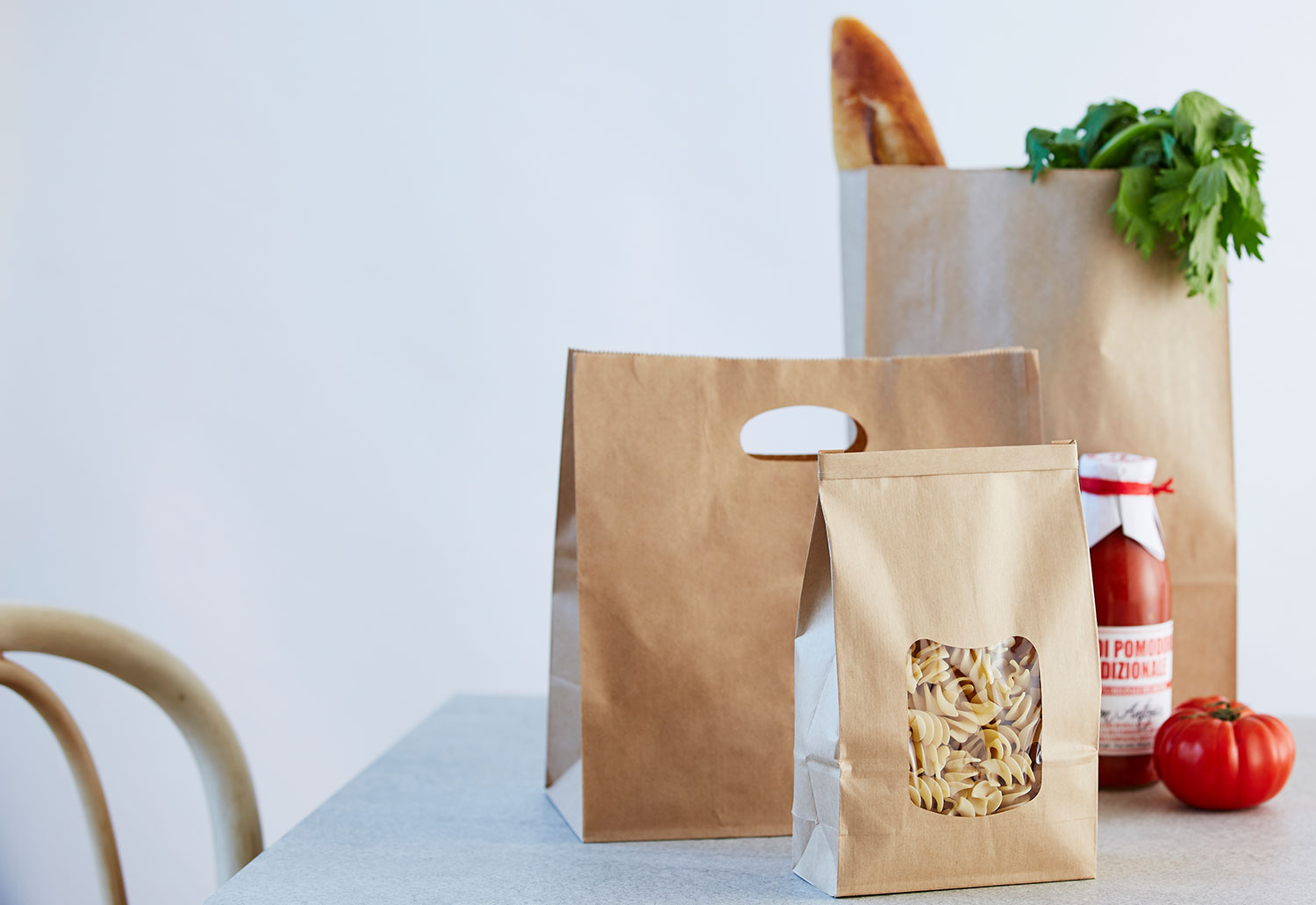 Pasta packed in a recyclable paper bag