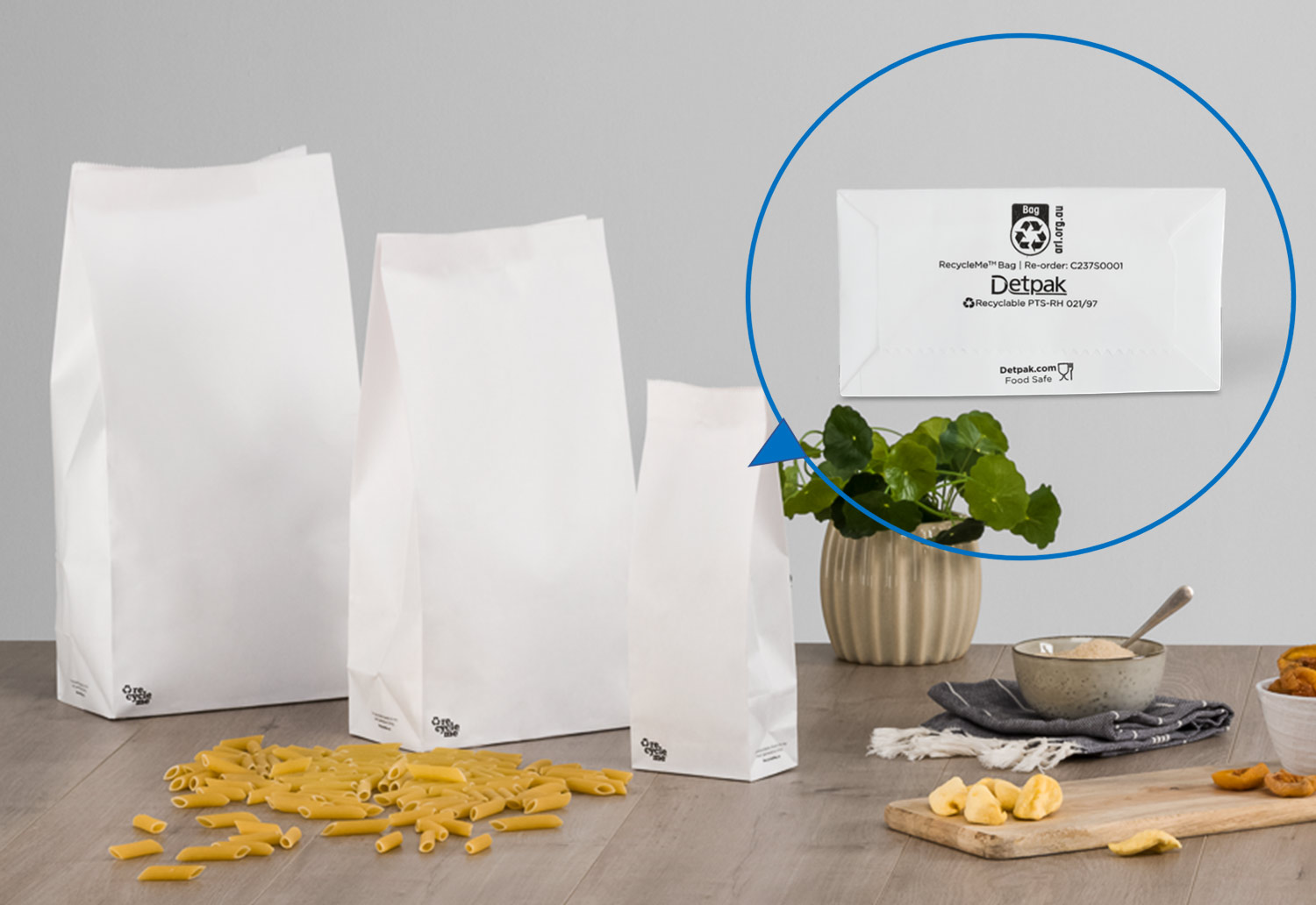 Image of RecycleMe bags filled with pasta and showing the Australasian Recycling Label