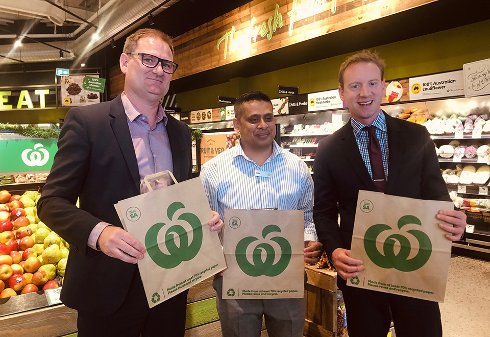 Detmold Group CEO Alf Ianniello with Woolworths Operations Manager Abhi Dhawarker and SA Minister for Environment and Water the Hon David Speirs