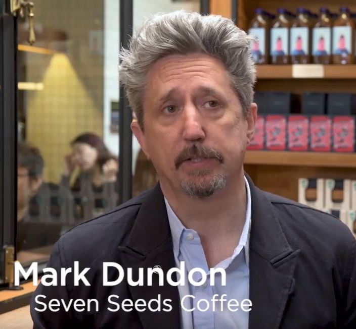 Image of Mark Dundon in an interview about RecycleMe and Seven Seeds Coffee