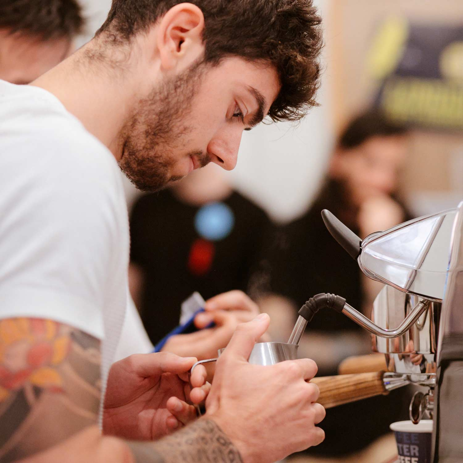 Image of barista steaming milk at the RecycleMe Detpak UK Smackdown