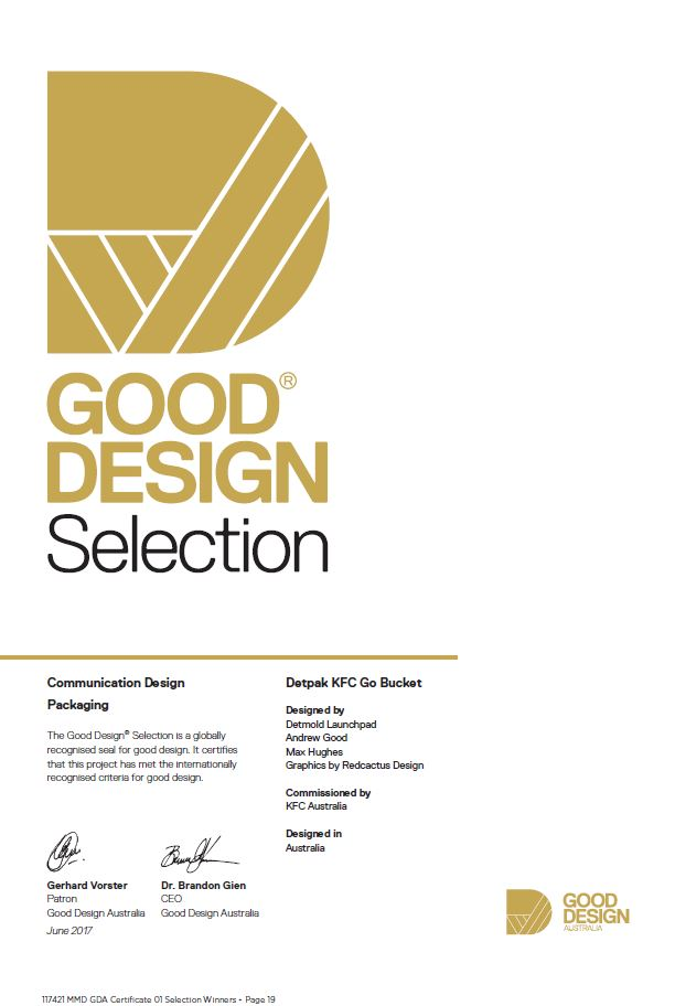 Good Design Award Certificate