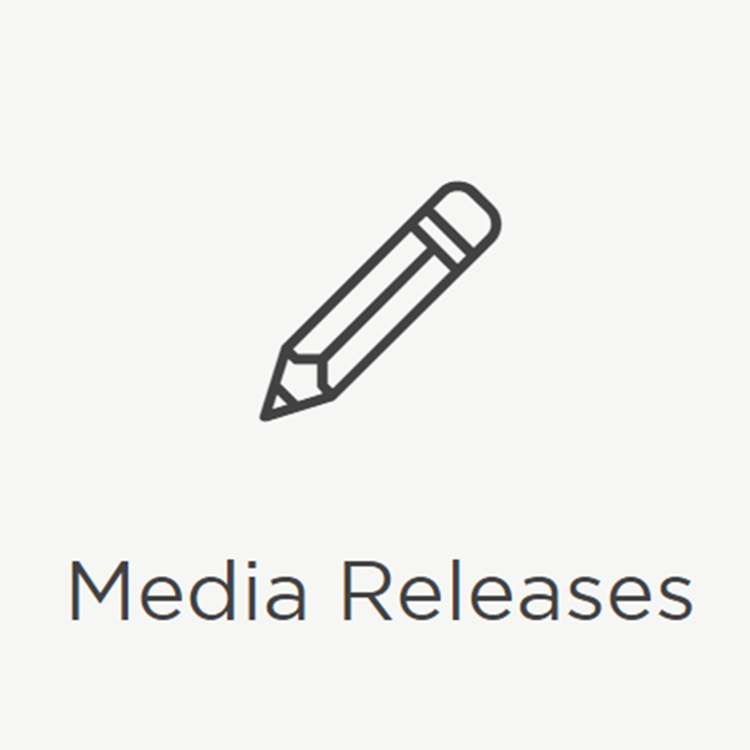 Icon displaying a picture of a pencil reading 'Media Releases'