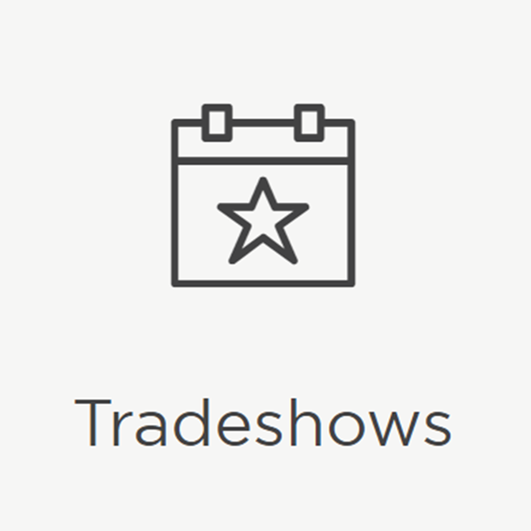 Icon displaying calendar and text reading tradeshows