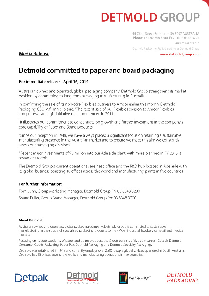 DETMOLD COMMITTED TO PAPER AND BOARD PACKAGING
