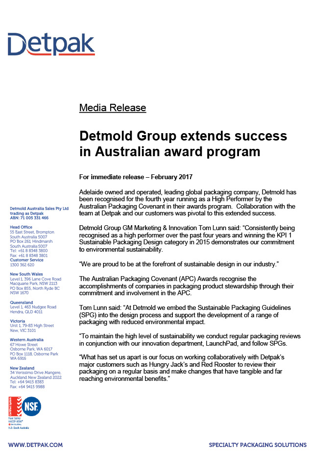 DETMOLD GROUP EXTENDS SUCCESS