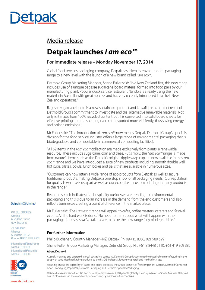 DETMOLD LAUNCHES I AM ECO™ (NZ)