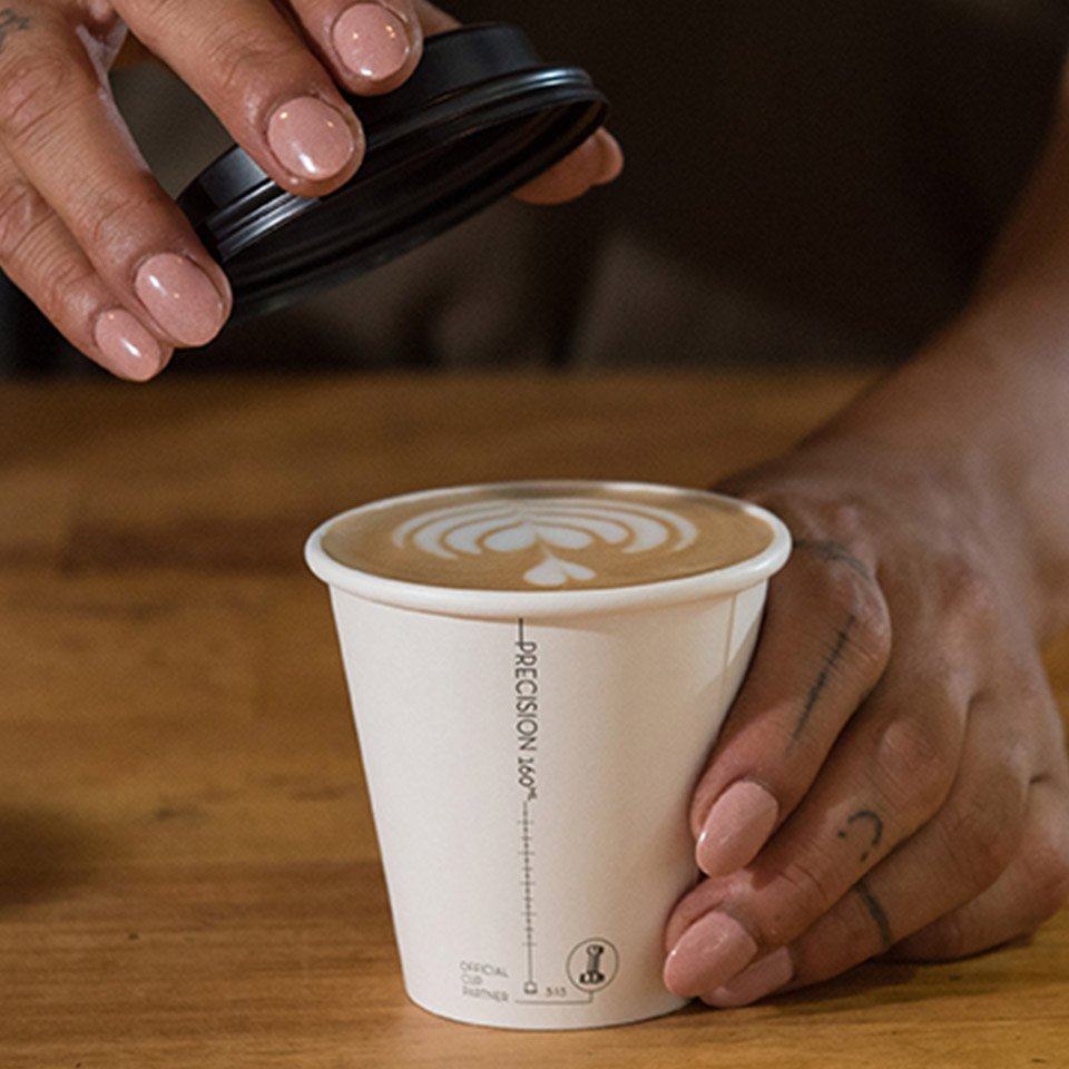 Image of Precision Series takeaway cup with latte art