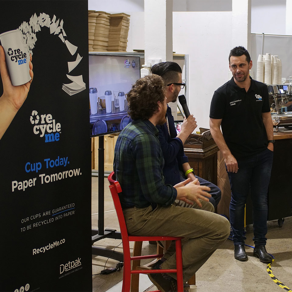 Image of Craig Simon, Maxwell Colonna Dashwood and Detpak's Clint Hendry at the Taylor Street Barista launch event